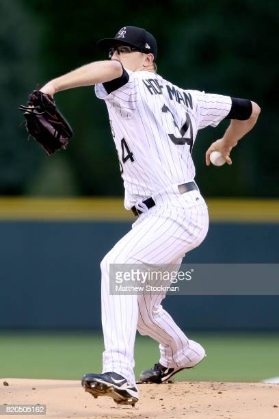 Starting pitcher Jeff Hoffman of the Colorado Rockies throws in the first inning against the Pitsburgh Pirates at Coors Field on July 21 2017 in...