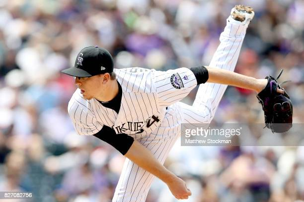 Starting pitcher Jeff Hoffman of the Colorado Rockies throws in the fifth inning against the Philadelphia Phillies at Coors Field on August 6 2017 in...