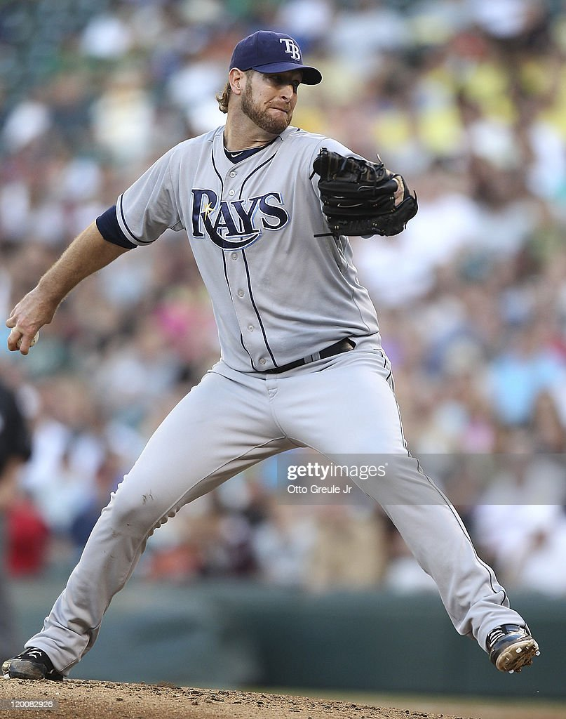 Starting pitcher <a gi-track='captionPersonalityLinkClicked' href=/galleries/search?phrase=Jeff+Niemann&family=editorial&specificpeople=810707 ng-click='$event.stopPropagation()'>Jeff Niemann</a> #34 of the Tampa Bay Rays pitches against the Seattle Mariners at Safeco Field on July 29, 2011 in Seattle, Washington.
