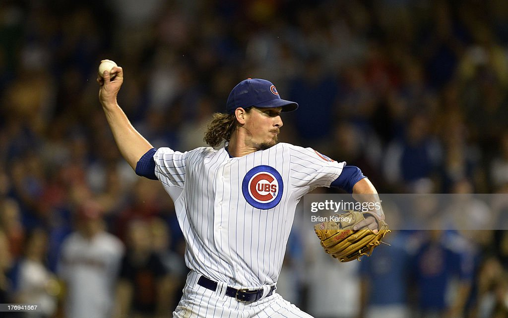 Starting pitcher <a gi-track='captionPersonalityLinkClicked' href=/galleries/search?phrase=Jeff+Samardzija&family=editorial&specificpeople=2106748 ng-click='$event.stopPropagation()'>Jeff Samardzija</a> #29 of the Chicago Cubs delivers during the ninth inning against the Washington Nationals at Wrigley Field on August 19, 2013 in Chicago, Illinois. The Cubs defeated the Nationals 11-1.