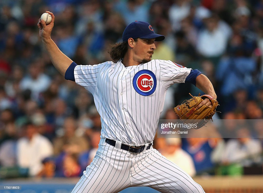 Starting pitcher <a gi-track='captionPersonalityLinkClicked' href=/galleries/search?phrase=Jeff+Samardzija&family=editorial&specificpeople=2106748 ng-click='$event.stopPropagation()'>Jeff Samardzija</a> #29 of the Chicago Cubs delivers the ball against the Milwaukee Brewers at Wrigley Field on July 29, 2013 in Chicago, Illinois.