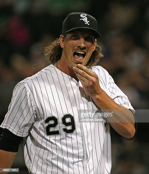 Starting pitcher Jeff Samardzija of the Chicago White Sox reacts as he leaves the field after the top of the 1st inning after giving up 5 runs to the...