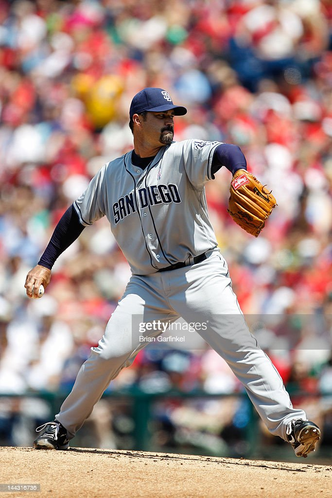 Starting pitcher <a gi-track='captionPersonalityLinkClicked' href=/galleries/search?phrase=Jeff+Suppan&family=editorial&specificpeople=171494 ng-click='$event.stopPropagation()'>Jeff Suppan</a> #38 of the San Diego Padres throws a pitch during the game against the Philadelphia Phillies at Citizens Bank Park on May 13, 2012 in Philadelphia, Pennsylvania.