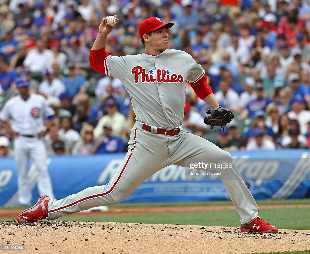 Starting pitcher Jerad Eickhoff #48 of the Philadelphia Phillies delivers the ball against the Chicago Cubs at Wrigley Field on May 28, 2016 in Chicago, Illinois.