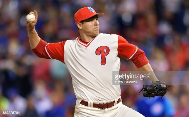Starting pitcher Jerad Eickhoff of the Philadelphia Phillies delivers a pitch in the third inning against the Chicago Cubs at Citizens Bank Park on...