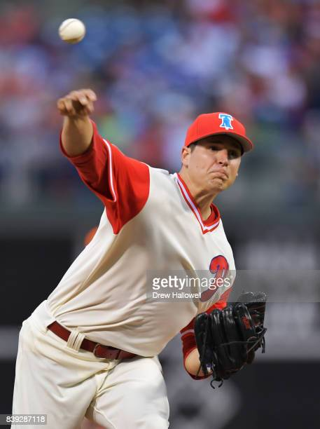Starting pitcher Jerad Eickhoff of the Philadelphia Phillies delivers a pitch in the first inning against the Chicago Cubs at Citizens Bank Park on...