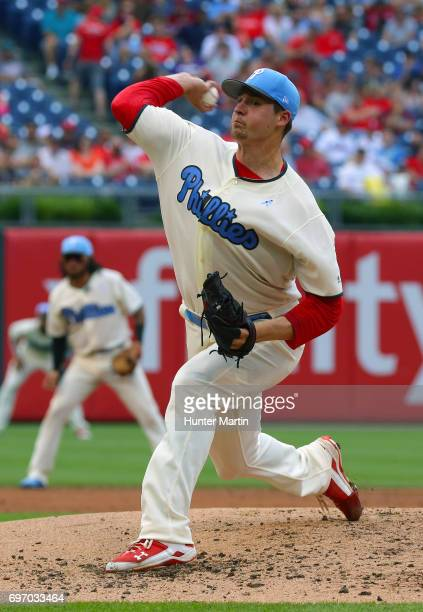 Starting pitcher Jerad Eickhoff of the Philadelphia Phillies throws a pitch in the third inning during a game against the Arizona Diamondbacks at...