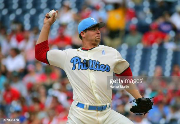 Starting pitcher Jerad Eickhoff of the Philadelphia Phillies throws a pitch in the first inning during a game against the Arizona Diamondbacks at...