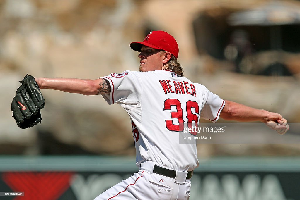Starting pitcher <a gi-track='captionPersonalityLinkClicked' href=/galleries/search?phrase=Jered+Weaver&family=editorial&specificpeople=565100 ng-click='$event.stopPropagation()'>Jered Weaver</a> #36 of the Los Angeles Angels of Anaheim throws a pitch against the Chicago White Sox at Angel Stadium of Anaheim on September 23, 2012 in Anaheim, California. The Angels won 4-1.