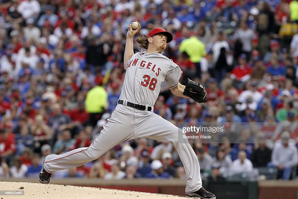 Starting pitcher <a gi-track='captionPersonalityLinkClicked' href=/galleries/search?phrase=Jered+Weaver&family=editorial&specificpeople=565100 ng-click='$event.stopPropagation()'>Jered Weaver</a> #36 of the Los Angeles Angels of Anaheim throws a pitch in the first inning against the Texas Rangers at Rangers Ballpark in Arlington on April 7, 2013 in Arlington, Texas.