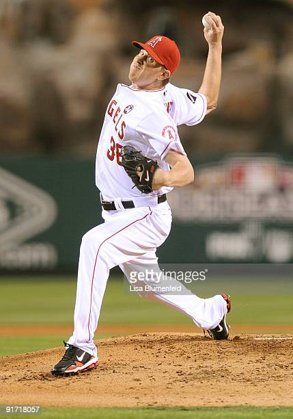 Starting pitcher Jered Weaver of the Los Angeles Angels of Anaheim delivers a pitch against the Boston Red Soxduring Game Two of the ALDS during the...