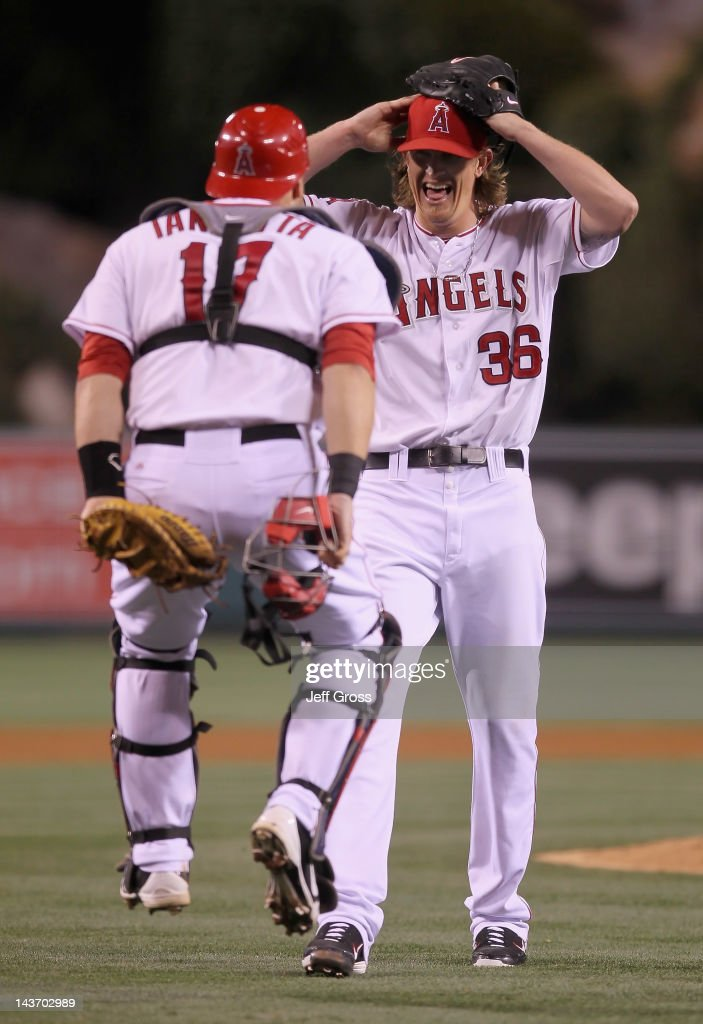 Starting pitcher Jered Weaver #36 of the Los Angeles Angels of Anaheim celebrates with catcher Chris Iannetta #17 after throwing a no hitter against the Minnesota Twins at Angel Stadium of Anaheim on May 2, 2012 in Anaheim, California. The Angels defeated the Twins 9-0.
