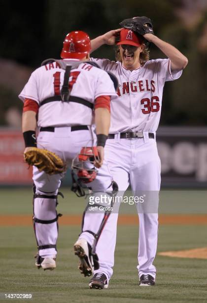 Starting pitcher Jered Weaver of the Los Angeles Angels of Anaheim celebrates with catcher Chris Iannetta after throwing a no hitter against the...