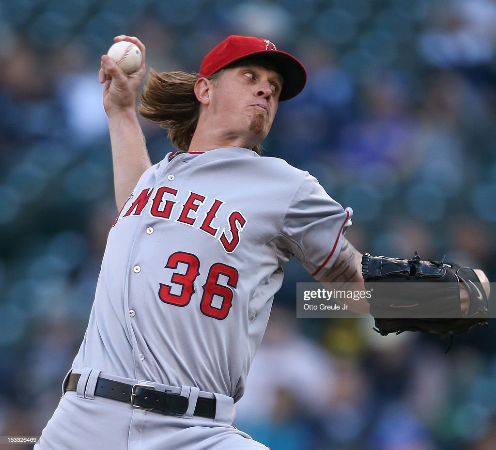 Starting pitcher <a gi-track='captionPersonalityLinkClicked' href=/galleries/search?phrase=Jered+Weaver&family=editorial&specificpeople=565100 ng-click='$event.stopPropagation()'>Jered Weaver</a> #36 of the Los Angeles Angels of Anaheim pitches against the Seattle Mariners at Safeco Field on October 3, 2012 in Seattle, Washington.
