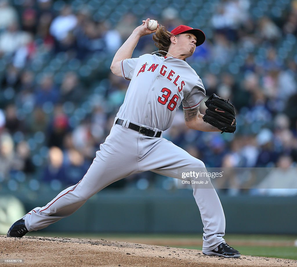 Starting pitcher <a gi-track='captionPersonalityLinkClicked' href=/galleries/search?phrase=Jered+Weaver&family=editorial&specificpeople=565100 ng-click='$event.stopPropagation()'>Jered Weaver</a> #36 of the Los Angeles Angels of Anaheim pitches against the Seattle Mariners at Safeco Field on October 3, 2012 in Seattle, Washington. Weaver was removed from the game in the second inning.