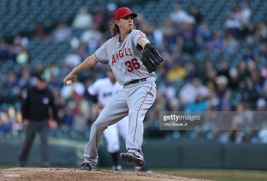 Starting pitcher Jered Weaver #36 of the Los Angeles Angels of Anaheim pitches against the Seattle Mariners at Safeco Field on October 3, 2012 in Seattle, Washington.