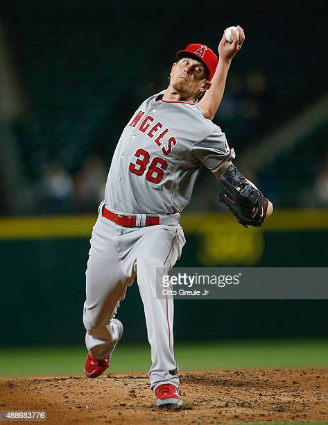 Starting pitcher Jered Weaver of the Los Angeles Angels of Anaheim pitches against the Seattle Mariners in the second inning at Safeco Field on...
