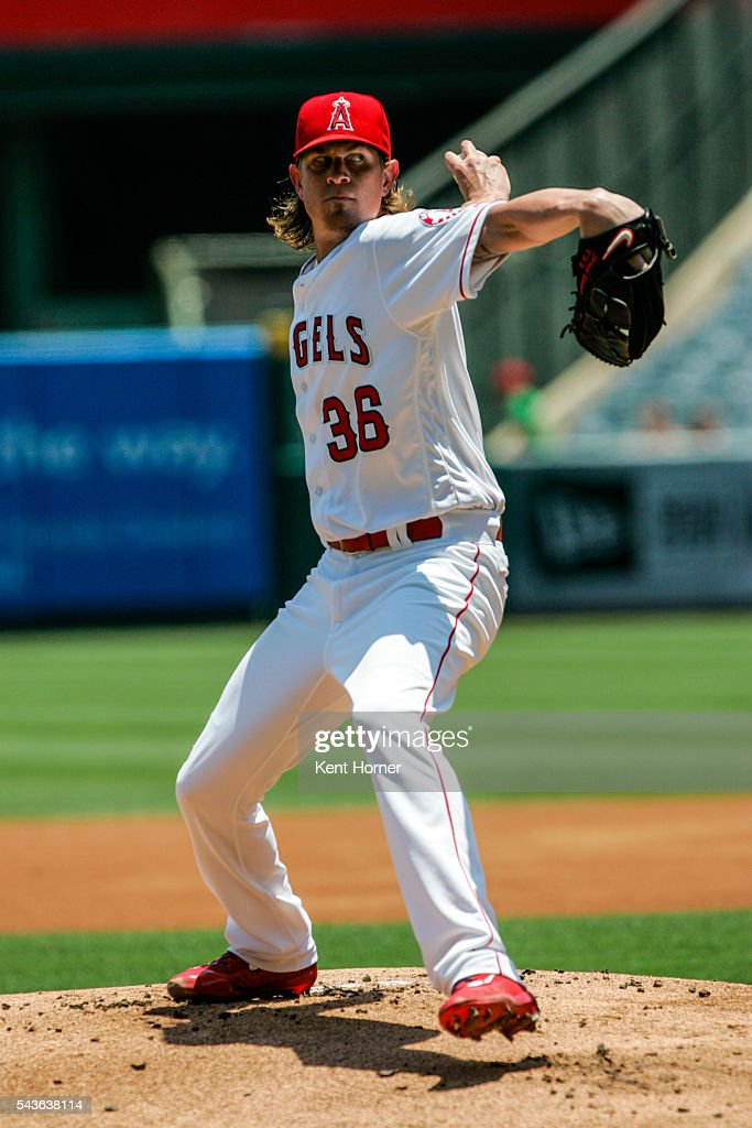 Starting pitcher <a gi-track='captionPersonalityLinkClicked' href=/galleries/search?phrase=Jered+Weaver&family=editorial&specificpeople=565100 ng-click='$event.stopPropagation()'>Jered Weaver</a> #36 of the Los Angeles Angels throws the ball in the 1st inning against the Houston Astros at Angel Stadium of Anaheim on June 29, 2016 in Anaheim, California.
