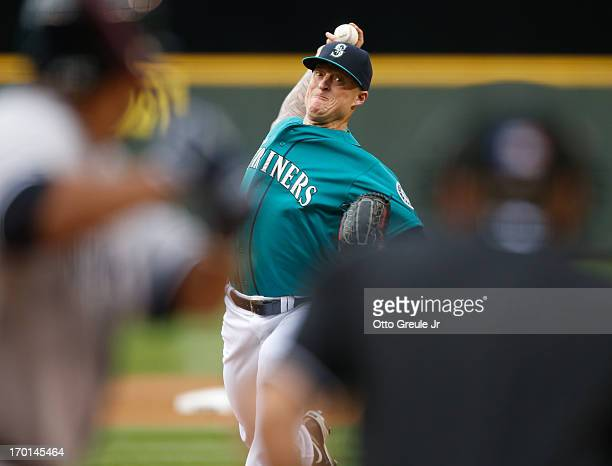 Starting pitcher Jeremy Bonderman of the Seattle Mariners pitches against the New York Yankees in the second inning at Safeco Field on June 7 2013 in...