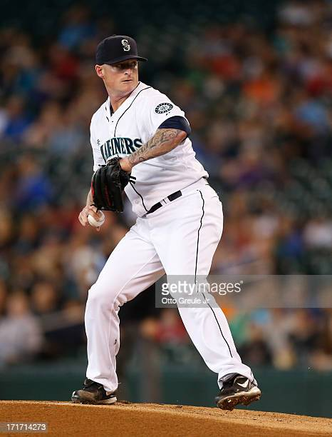Starting pitcher Jeremy Bonderman of the Seattle Mariners pitches against the Oakland Athletics at Safeco Field on June 23 2013 in Seattle Washington