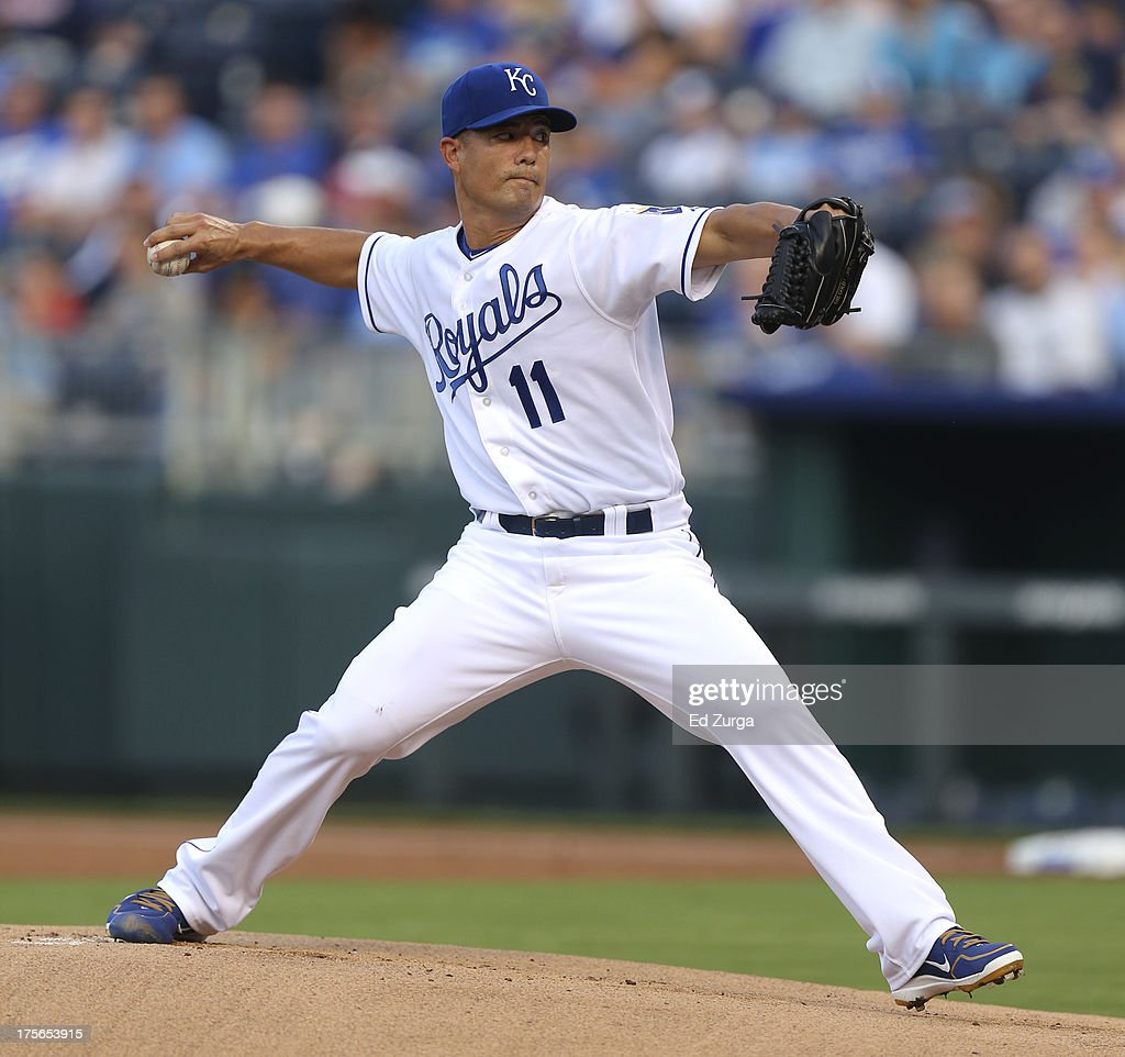 Starting pitcher Jeremy Guthrie #11 of the Kansas City Royals throws in the first inning during a game against the Minnesota Twins at Kauffman Stadium August, 5, 2013 in Kansas City, Missouri.