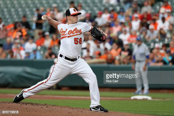 Starting pitcher Jeremy Hellickson of the Baltimore Orioles throws to a Kansas City Royals batter in the first inning at Oriole Park at Camden Yards...