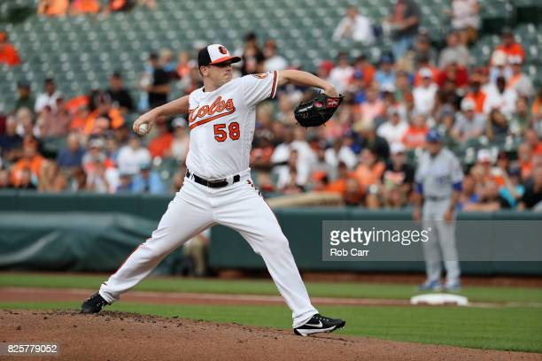 Starting pitcher Jeremy Hellickson of the Baltimore Orioles throws to a Kansas City Royals batter at Oriole Park at Camden Yards on August 2 2017 in...