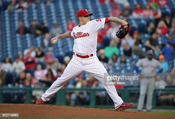 Starting pitcher Jeremy Hellickson of the Philadelphia Phillies throws a pitch in the first inning during a game against the New York Mets at...