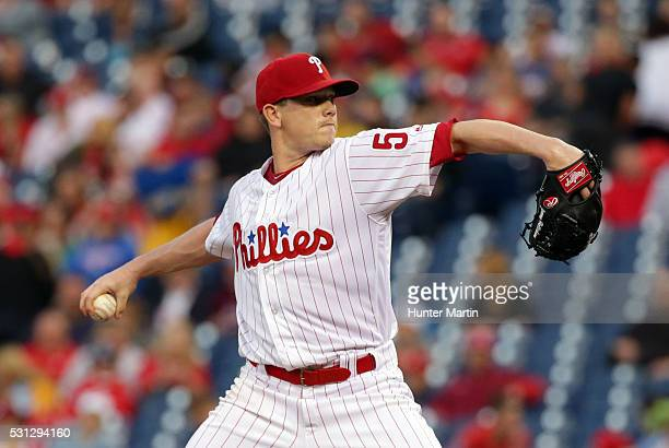 Starting pitcher Jeremy Hellickson of the Philadelphia Phillies throws a pitch in the third inning during a game against the Cincinnati Reds at...