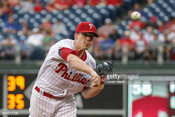 Starting pitcher Jeremy Hellickson of the Philadelphia Phillies throws a pitch in the first inning during a game against the Kansas City Royals at...