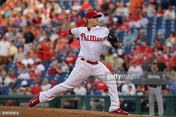 Starting pitcher Jeremy Hellickson of the Philadelphia Phillies throws a pitch in the second inning during a game against the Miami Marlins at...