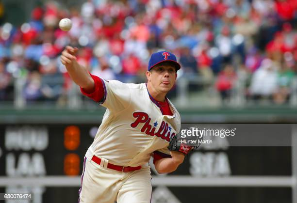 Starting pitcher Jeremy Hellickson of the Philadelphia Phillies throws a pitch in the fourth inning during a game against the Washington Nationals at...
