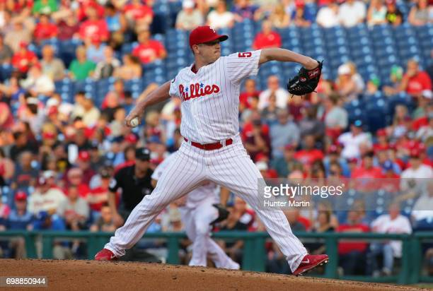 Starting pitcher Jeremy Hellickson of the Philadelphia Phillies throws a pitch in the second inning during a game against the St Louis Cardinals at...