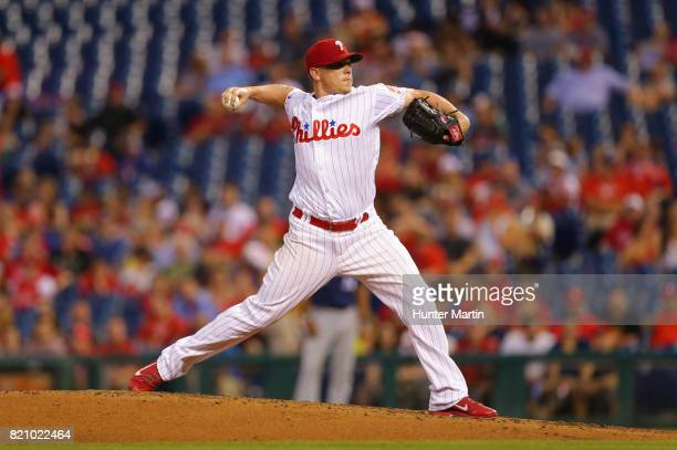 Starting pitcher Jeremy Hellickson of the Philadelphia Phillies throws a pitch in the third inning during a game against the Milwaukee Brewers at...
