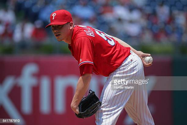 Starting pitcher Jeremy Hellickson of the Philadelphia Phillies pitches from the stretch in the first inning during a game against the Arizona...