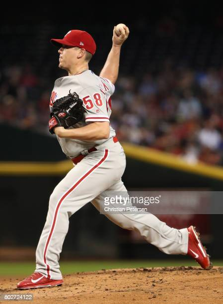 Starting pitcher Jeremy Hellickson of the Philadelphia Phillies pitches against the Arizona Diamondbacks during the first inning of the MLB game at...