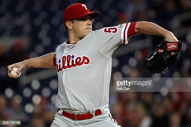 Starting pitcher Jeremy Hellickson of the Philadelphia Phillies throws to a Washington Nationals batter in the third inning at Nationals Park on...