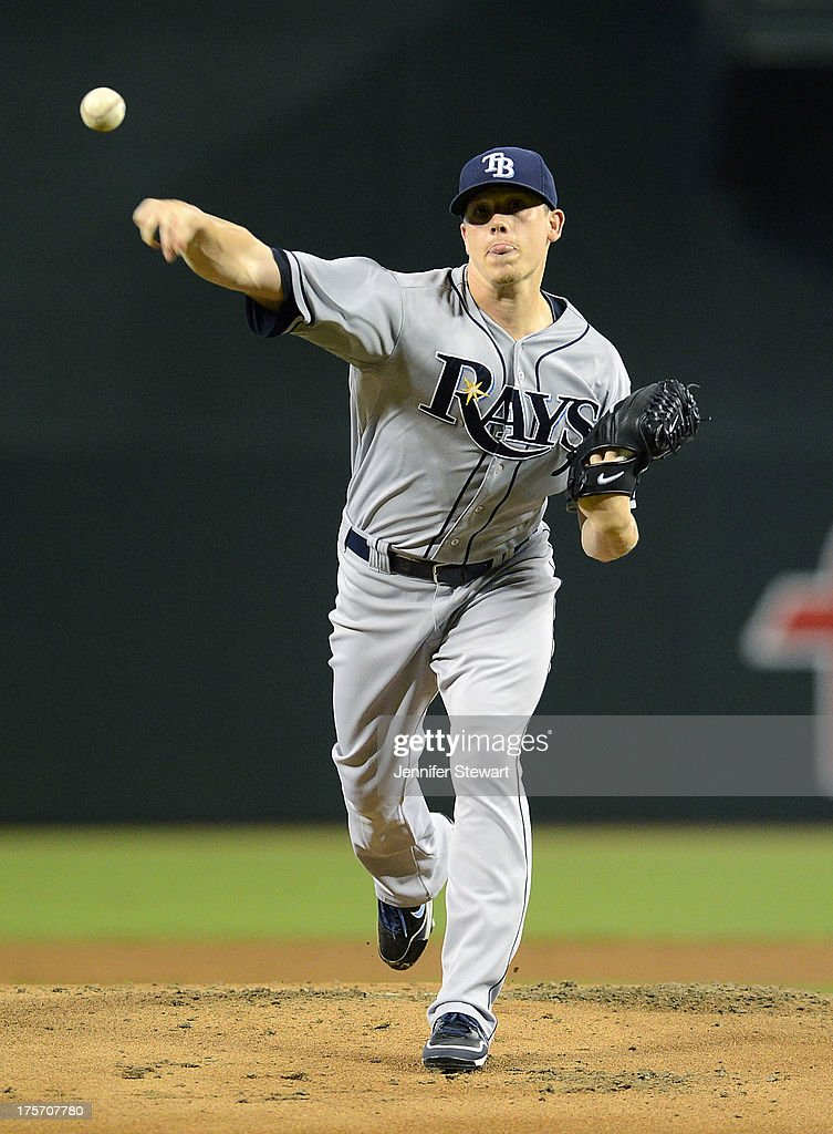 Starting pitcher Jeremy Hellickson #58 of the Tampa Bay Rays pitches against the Arizona Diamondbacks in the first inning at Chase Field on August 6, 2013 in Phoenix, Arizona.