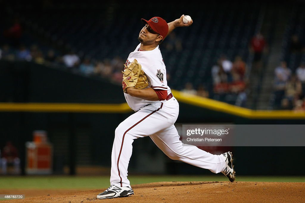 Starting pitcher Jhoulys Chacin of the Arizona Diamondbacks pitches against the San Diego Padres during the first inning of the MLB game at Chase...