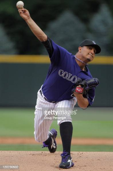 Starting pitcher Jhoulys Chacin of the Colorado Rockies delivers against the Philadelphia Phillies at Coors Field on August 1 2011 in Denver Colorado
