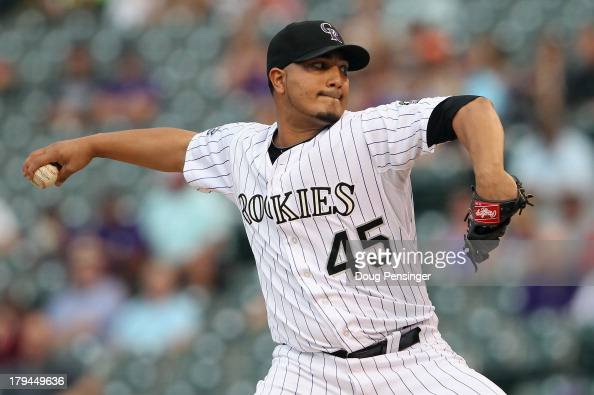 Starting pitcher Jhoulys Chacin of the Colorado Rockies delivers against the Los Angeles Dodgers at Coors Field on September 3 2013 in Denver Colorado