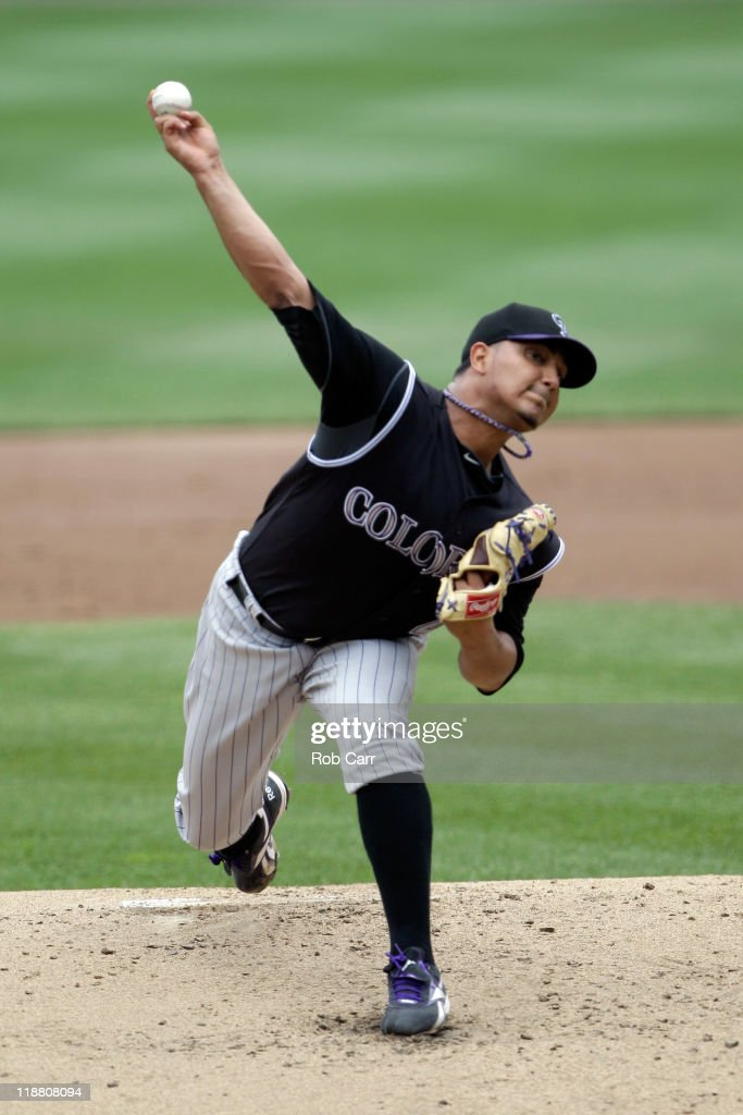 Starting pitcher Jhoulys Chacin of the Colorado Rockies delivers to a Washington Nationals batter at Nationals Park on July 10 2011 in Washington DC...