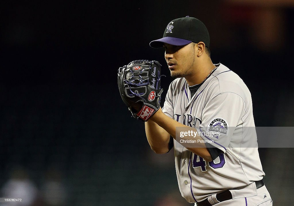 Starting pitcher Jhoulys Chacin #45 of the Colorado Rockies pitches against the Arizona Diamondbacks during the MLB game at Chase Field on October 2, 2012 in Phoenix, Arizona.