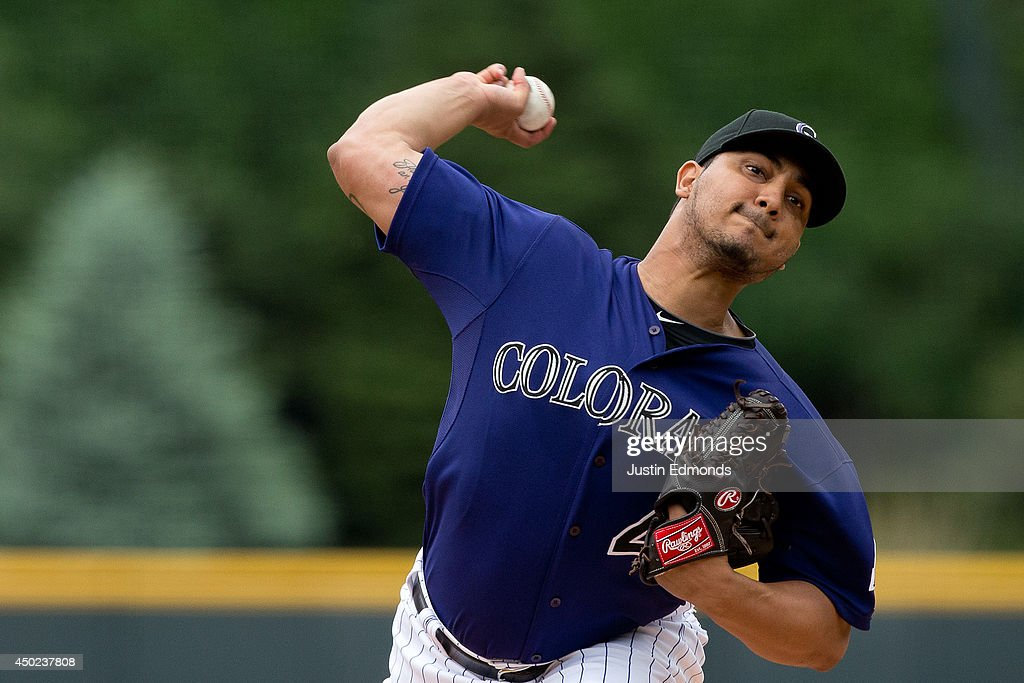 Starting pitcher Jhoulys Chacin of the Colorado Rockies throws during the first inning against the Los Angeles Dodgers at Coors Field on June 7 2014...