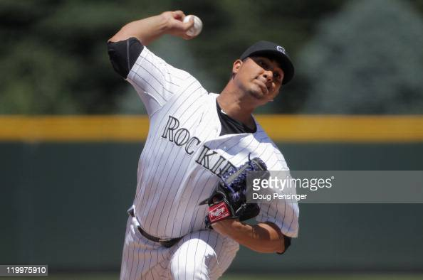 Starting pitcher Jhoulys Chacin of the Colorado Rockies works against the Atlanta Braves at Coors Field on July 21 2011 in Denver Colorado The Braves...