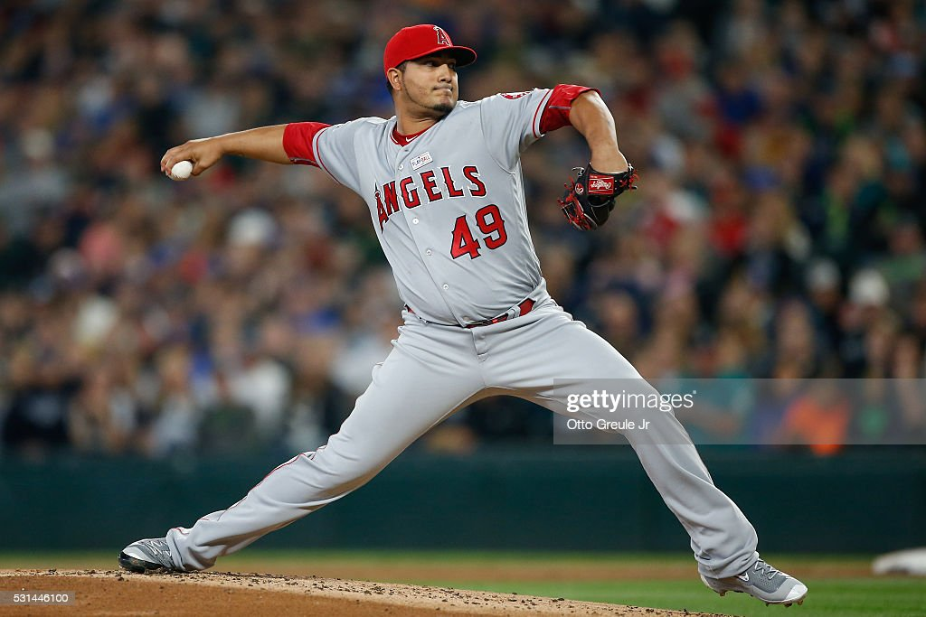 Starting pitcher Jhoulys Chacin of the Los Angeles Angels of Anaheim pitches against the Seattle Mariners in the first inning at Safeco Field on May...