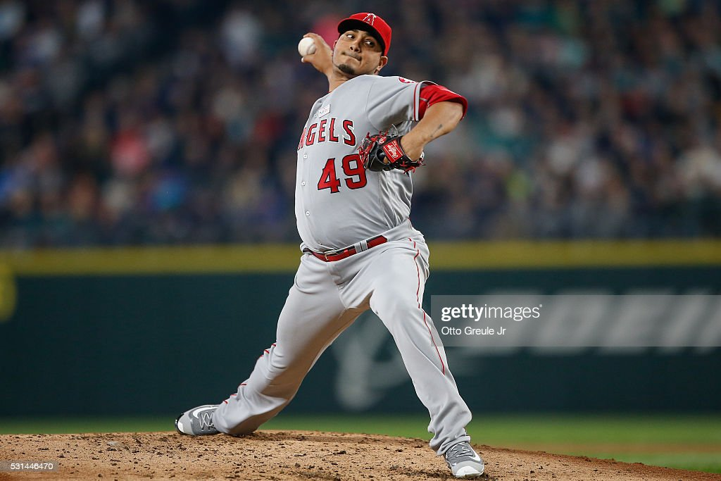 Starting pitcher Jhoulys Chacin of the Los Angeles Angels of Anaheim pitches against the Seattle Mariners in the second inning at Safeco Field on May...