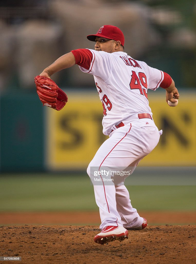 Starting pitcher Jhoulys Chacin of the Los Angeles Angels of Anaheim pitches during the first inning of the game against the Oakland Athletics at...