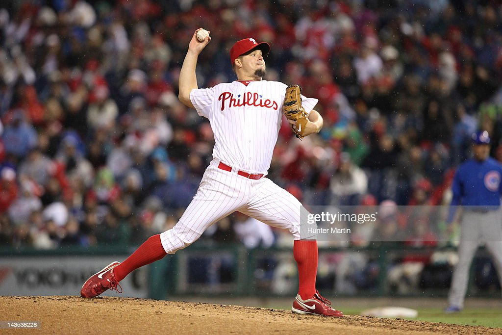 Starting pitcher Joe Blanton #56 of the Philadelphia Phillies throws a pitch during a game against the Chicago Cubs at Citizens Bank Park on April 28, 2012 in Philadelphia, Pennsylvania.