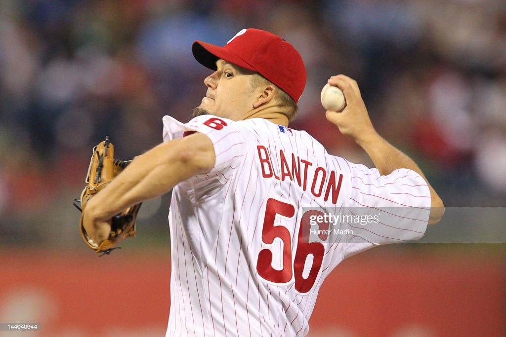 Starting pitcher Joe Blanton #56 of the Philadelphia Phillies throws a pitch during a game against the New York Mets at Citizens Bank Park on May 8, 2012 in Philadelphia, Pennsylvania.